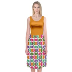 Modernist Floral Tiles Midi Sleeveless Dress by DanaeStudio