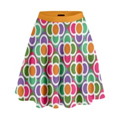 Modernist Floral Tiles High Waist Skirt by DanaeStudio