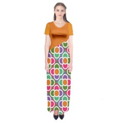 Asymmetric Orange Modernist Floral Tiles Short Sleeve Maxi Dress by DanaeStudio