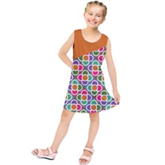 Asymmetric Orange Modernist Floral Tiles Kid s Tunic Dress by DanaeStudio