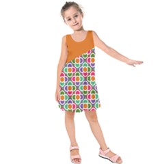 Asymmetric Orange Modernist Floral Tiles Kid s Sleeveless Dress by DanaeStudio