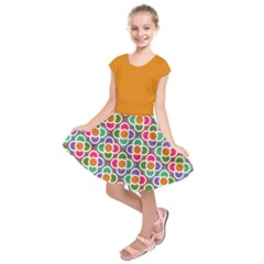 Modernist Floral Tiles Kid s Short Sleeve Dress by DanaeStudio