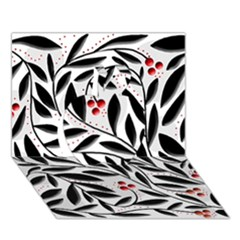 Red, Black And White Elegant Pattern Apple 3d Greeting Card (7x5) by Valentinaart