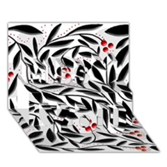 Red, black and white elegant pattern Miss You 3D Greeting Card (7x5)