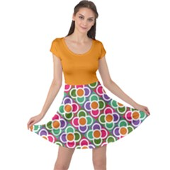 Modernist Floral Tiles Cap Sleeve Dress by DanaeStudio