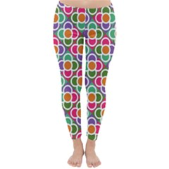 Modernist Floral Tiles Winter Leggings  by DanaeStudio
