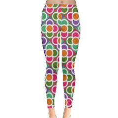 Modernist Floral Tiles Leggings  by DanaeStudio