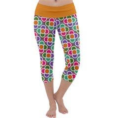 Modernist Floral Tiles Capri Yoga Leggings by DanaeStudio