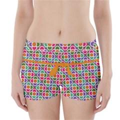 Modernist Floral Tiles Boyleg Bikini Wrap Bottoms by DanaeStudio