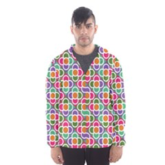 Modernist Floral Tiles Hooded Wind Breaker (men) by DanaeStudio