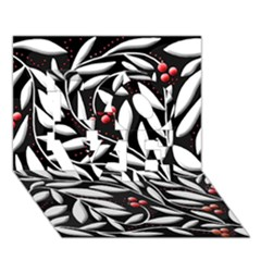 Black, Red, And White Floral Pattern Love 3d Greeting Card (7x5) by Valentinaart