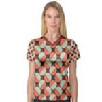 Modernist Geometric Tiles Women s V-Neck Sport Mesh Tee