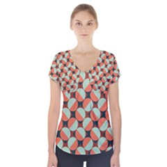 Modernist Geometric Tiles Short Sleeve Front Detail Top by DanaeStudio
