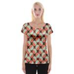 Modernist Geometric Tiles Women s Cap Sleeve Top