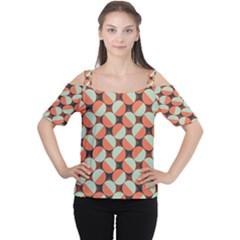 Modernist Geometric Tiles Women s Cutout Shoulder Tee by DanaeStudio