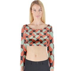 Modernist Geometric Tiles Long Sleeve Crop Top (tight Fit) by DanaeStudio