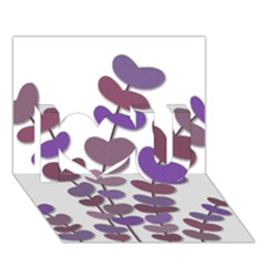 Purple Decorative Plant I Love You 3d Greeting Card (7x5) by Valentinaart