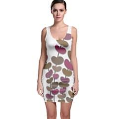 Magenta Decorative Plant Sleeveless Bodycon Dress by Valentinaart