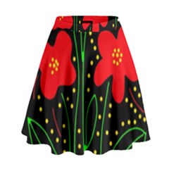 Red flowers High Waist Skirt by Valentinaart