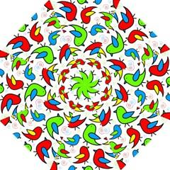 Colorful Cute Birds Pattern Hook Handle Umbrellas (large) by Valentinaart