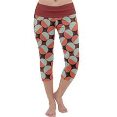 Modernist Geometric Tiles Capri Yoga Leggings by DanaeStudio