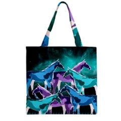 Horses Under A Galaxy Grocery Tote Bag by DanaeStudio