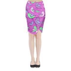 Pink birds pattern Midi Wrap Pencil Skirt