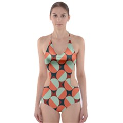 Modernist Geometric Tiles Cut Out One Piece Swimsuit by DanaeStudio