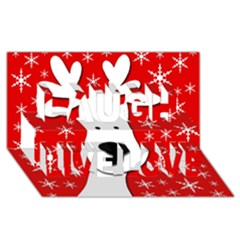 Christmas Reindeer   Red Laugh Live Love 3d Greeting Card (8x4) by Valentinaart
