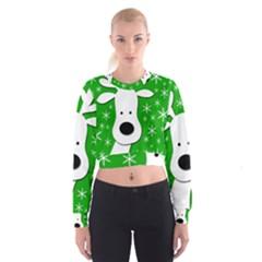 Christmas reindeer - green Women s Cropped Sweatshirt by Valentinaart