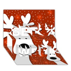Christmas Reindeer   Red 2 Get Well 3d Greeting Card (7x5) by Valentinaart