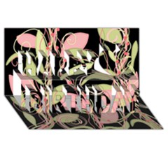 Pink And Ocher Ivy Happy Birthday 3d Greeting Card (8x4) by Valentinaart