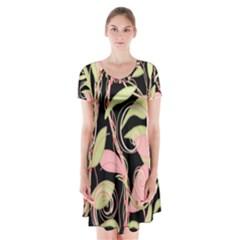 Pink and ocher ivy Short Sleeve V-neck Flare Dress by Valentinaart
