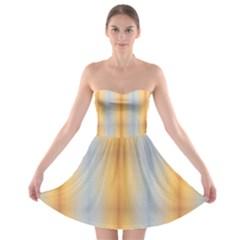 Blue Yellow Summer Pattern Strapless Bra Top Dress by Costasonlineshop
