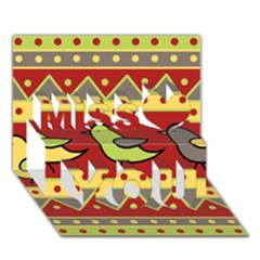 Brown Bird Pattern Miss You 3d Greeting Card (7x5) by Valentinaart
