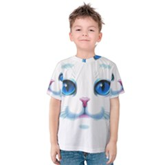 Cute White Cat Blue Eyes Face Kids  Cotton Tee by Zeze