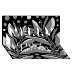 Gray Plant Design Merry Xmas 3d Greeting Card (8x4) by Valentinaart