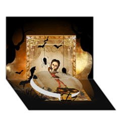 Halloween, Cute Girl With Pumpkin And Spiders Circle Bottom 3d Greeting Card (7x5)