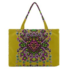 Fantasy Flower Peacock With Some Soul In Popart Medium Zipper Tote Bag by pepitasart