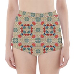 Traditional Scandinavian Pattern High-Waisted Bikini Bottoms