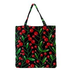 Red Christmas Berries Grocery Tote Bag by Valentinaart