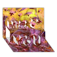 Falling Autumn Leaves Miss You 3d Greeting Card (7x5) by Contest2489503