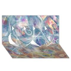 Spirals Twin Hearts 3d Greeting Card (8x4)