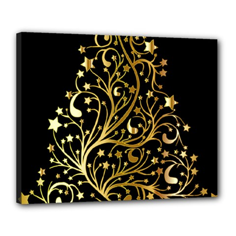 Decorative Starry Christmas Tree Black Gold Elegant Stylish Chic Golden Stars Canvas 20  X 16  by yoursparklingshop