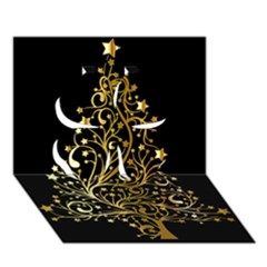Decorative Starry Christmas Tree Black Gold Elegant Stylish Chic Golden Stars Clover 3d Greeting Card (7x5) by yoursparklingshop