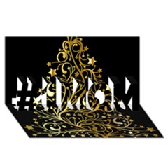 Decorative Starry Christmas Tree Black Gold Elegant Stylish Chic Golden Stars #1 Mom 3d Greeting Cards (8x4) by yoursparklingshop