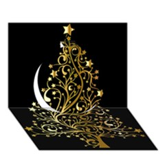 Decorative Starry Christmas Tree Black Gold Elegant Stylish Chic Golden Stars Circle 3D Greeting Card (7x5) by yoursparklingshop