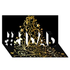 Decorative Starry Christmas Tree Black Gold Elegant Stylish Chic Golden Stars #1 Dad 3d Greeting Card (8x4) by yoursparklingshop