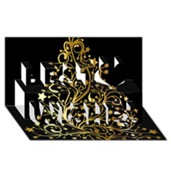 Decorative Starry Christmas Tree Black Gold Elegant Stylish Chic Golden Stars Best Wish 3d Greeting Card (8x4) by yoursparklingshop