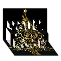 Decorative Starry Christmas Tree Black Gold Elegant Stylish Chic Golden Stars You Rock 3d Greeting Card (7x5) by yoursparklingshop